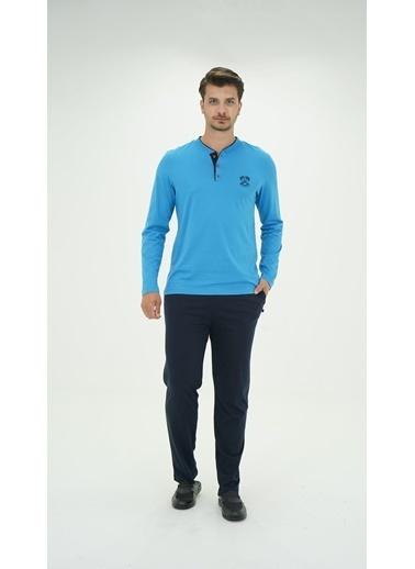 D'S Damat Ds Damat 1005 Erkek Uzun Kollu 2'Li Pijama Takımı  Mavi